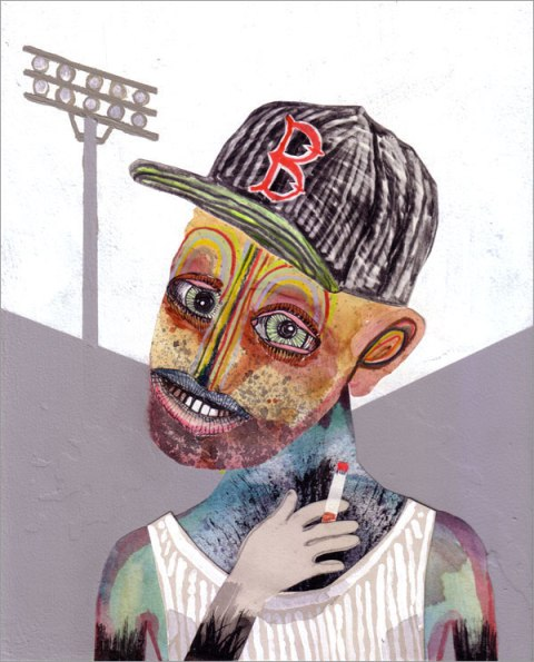 Beantown Beater, mixed media collage on panel, 10″x8″, 2013