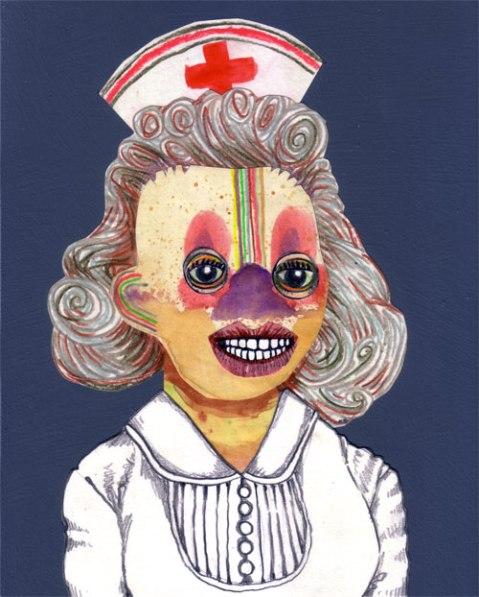 Nurse, mixed media on panel, 10 x 8 in., 2013