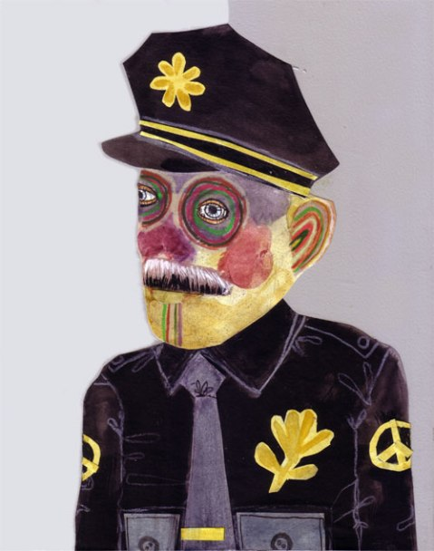 Peace Officer, mixed media on panel, 10 x 8 in., 2013