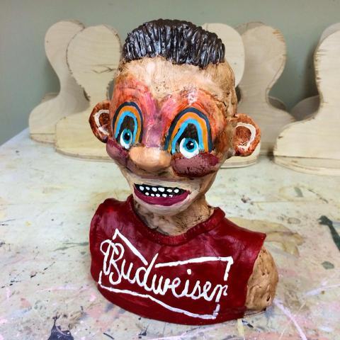 Hey Bud, epoxy clay and acrylic, 9.5 x 7 x 4.5 inches, 2014