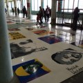 Political prisoner portraits done in huge Lego tiles.